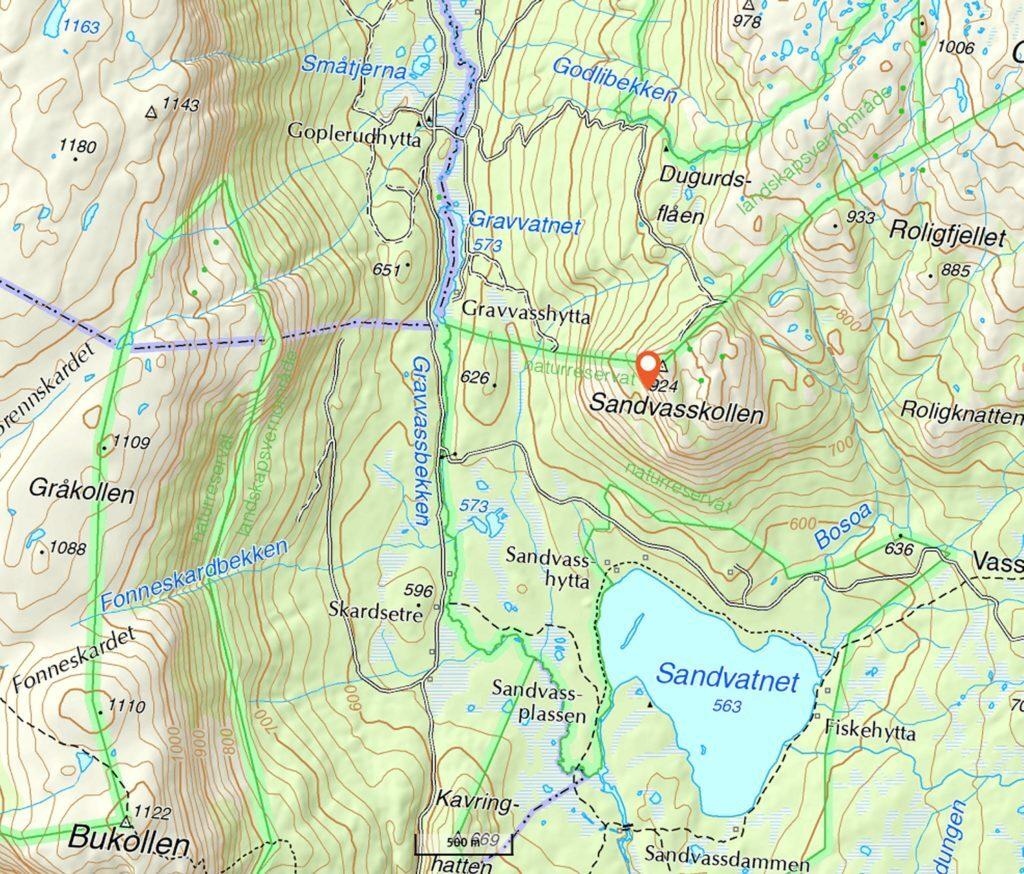 Kart over området