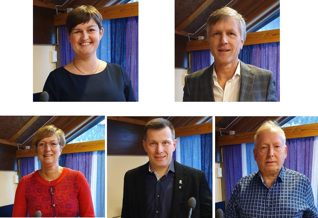 Øverst fra Venstre: Marit Hougsrud (Sp), Olav Kristian Huseby (H). Nederst fra venstre: Trine Adde Hansebakken (Sp), Svein Erik Wold (Sp) og Sigmund Skjerpen (Ap)