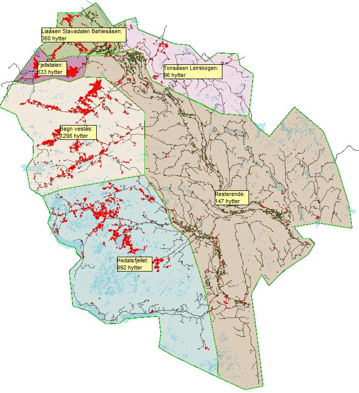 Hytter i ulike deler av kommunen.