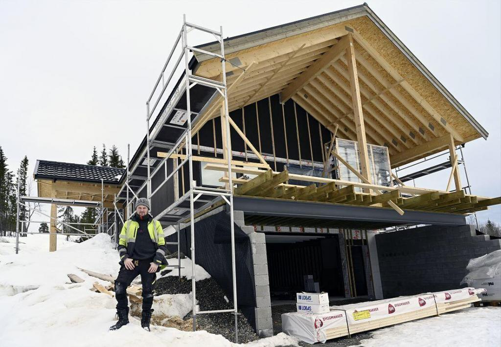 Nyhuset til Vilde og Gudbrand har tatt form. Foto: Arne G. Perlestenbakken