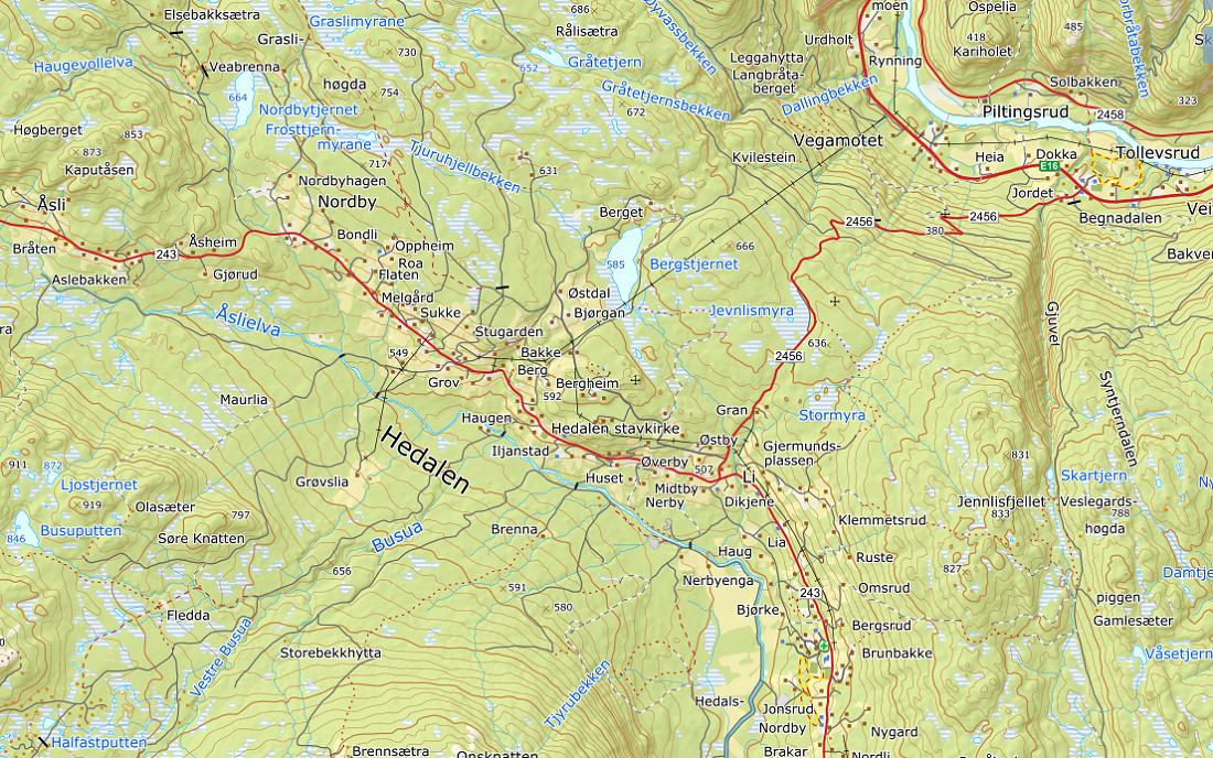 Kart over Hedalen