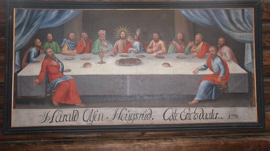 Hedalen stavkirke har flere malerier som framstiller Jesu siste måltid på Skjærtorsdag