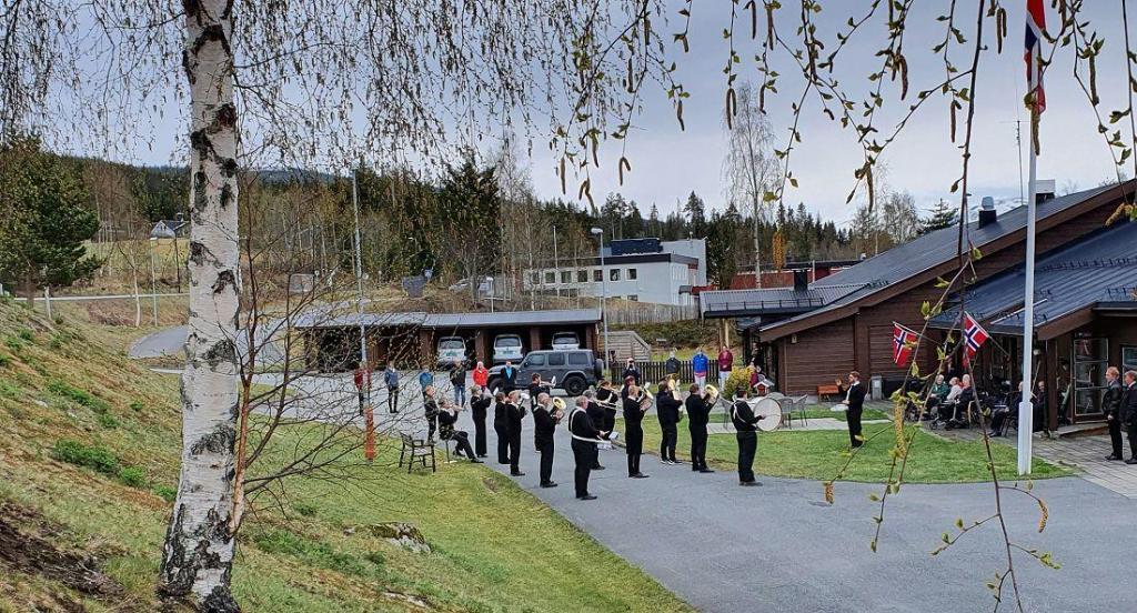 Bjørka spretter nå. På Hedalsheimen var det pent pynta til 17. mai. Foto: Arne Heimestøl