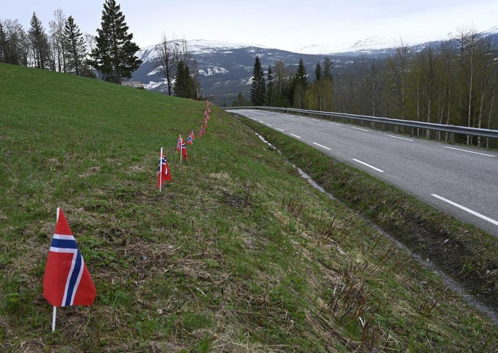 Her hadde noen pynta med flagg langs vegen. Foto: Arne G. Perlestenbakken