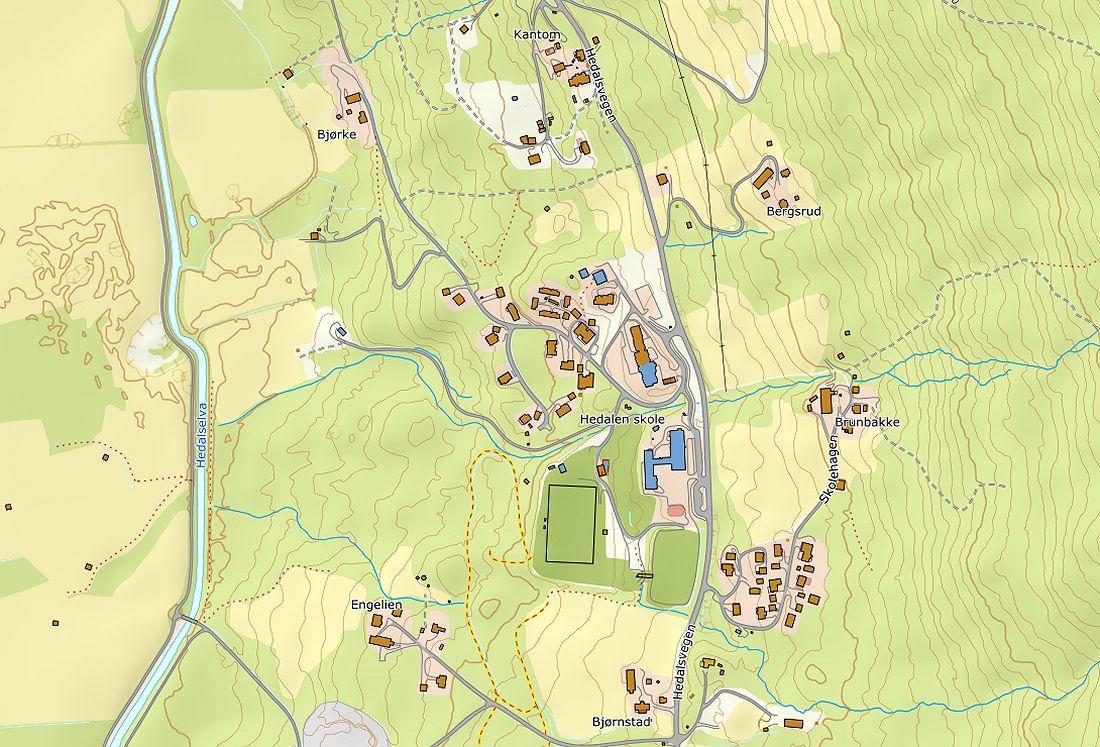 Kart over deler av Hedalen