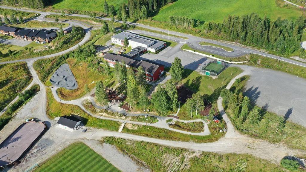 Hedalen barne- og ungdomsskole og Hedalsheimen. Foto: Helge Nordby